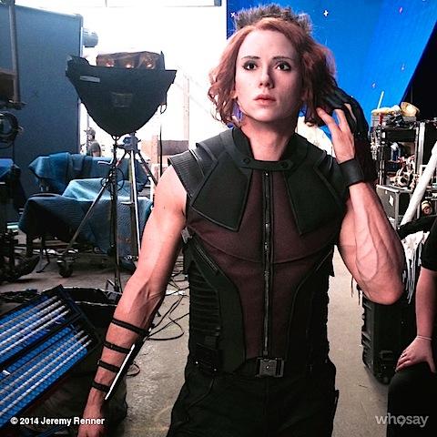 Jeremy Renner wearing a Scarlett Johansson mask