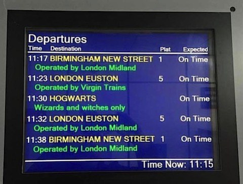 The departure board at Rugby station for Hogwarts