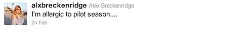 Alex Breckenridge's first tweet