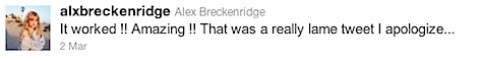 Alex Breckenridge's third tweet