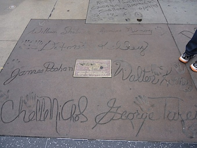 The Star Trek casts signatures in the concrete outside