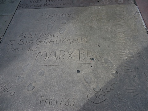 The Marx Brothers' handprints
