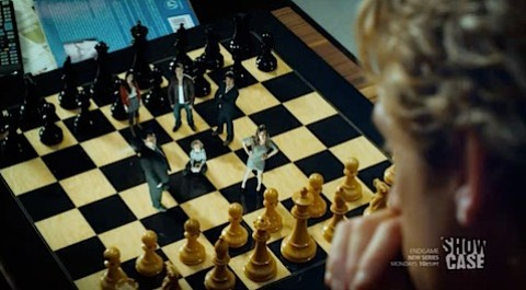 Chessboard characters in Endgame