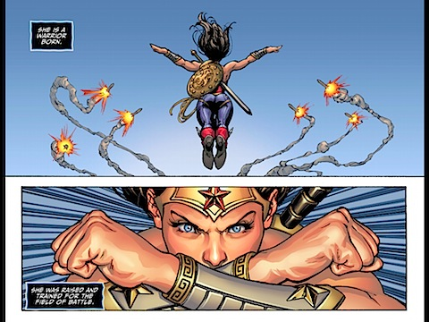 Wonder Woman deflects missile