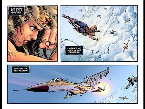 Wonder Woman destroys planes