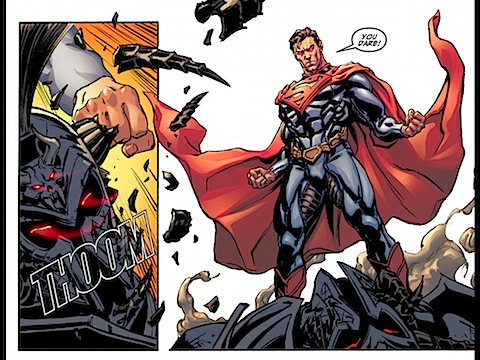 Superman beats up Ares
