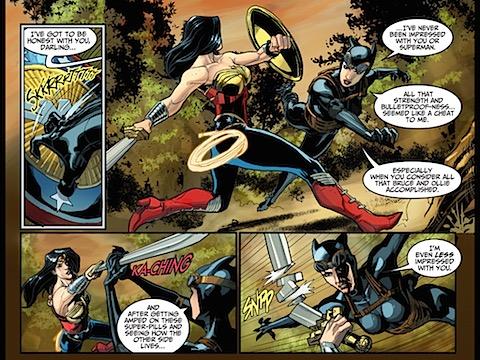 Catwoman breaks Wonder Woman's sword