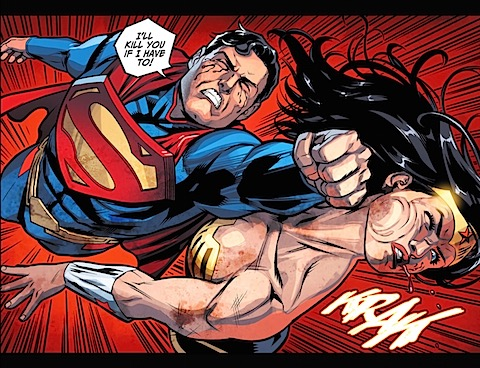 Superman punches Diana