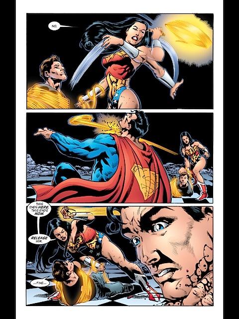 Wonder Woman cuts Superman's throat