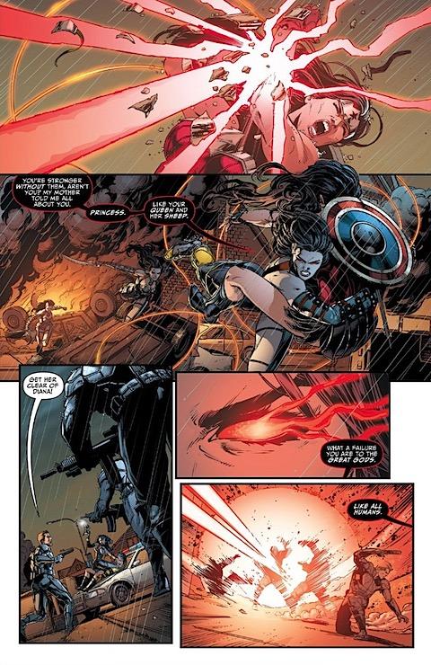 Grail destroys Wonder Woman's braclets