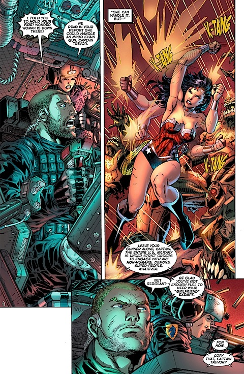 Wonder Woman deals with some bullets