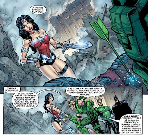 Wonder Woman gets hit on by Green Arrow