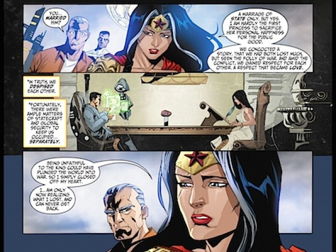 Lord Superman and Wonder Woman have breakfast