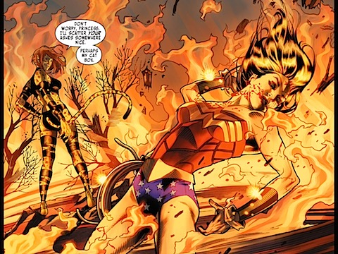 Wonder Woman burns