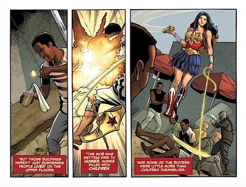 Wonder Woman stops violence in Itari