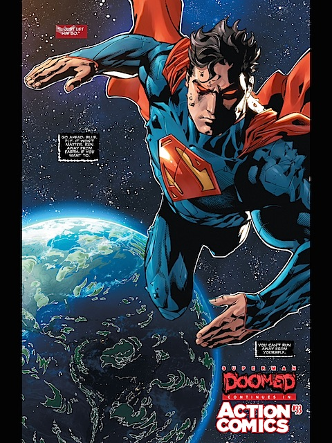 Superman alone in space