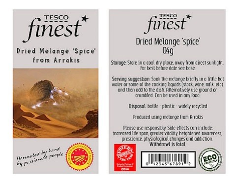 Tesco spice label