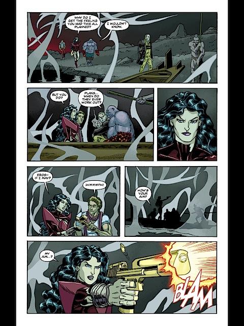 Wonder Woman fires the pistol