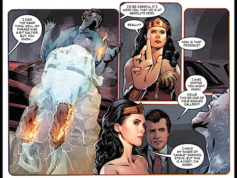 Wonder Woman and Steve Trevor investigate the crime