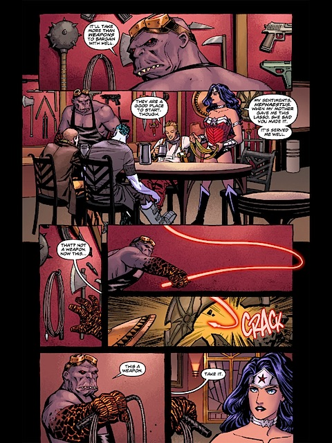 Wonder Woman talks weapons with Hephaestus