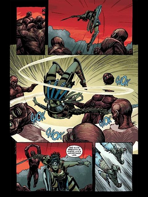 Wonder Woman uses her sword