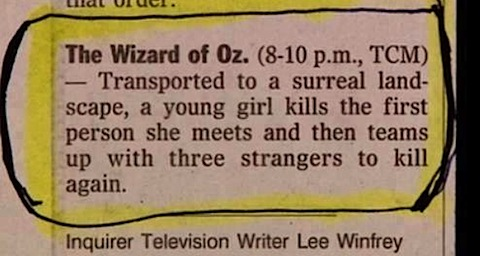 The Wizard of Oz TV listing