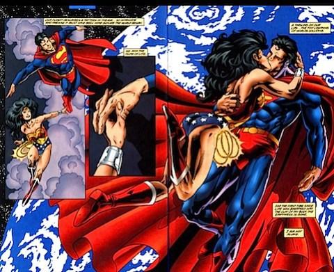 Wonder Woman and Superman kissing
