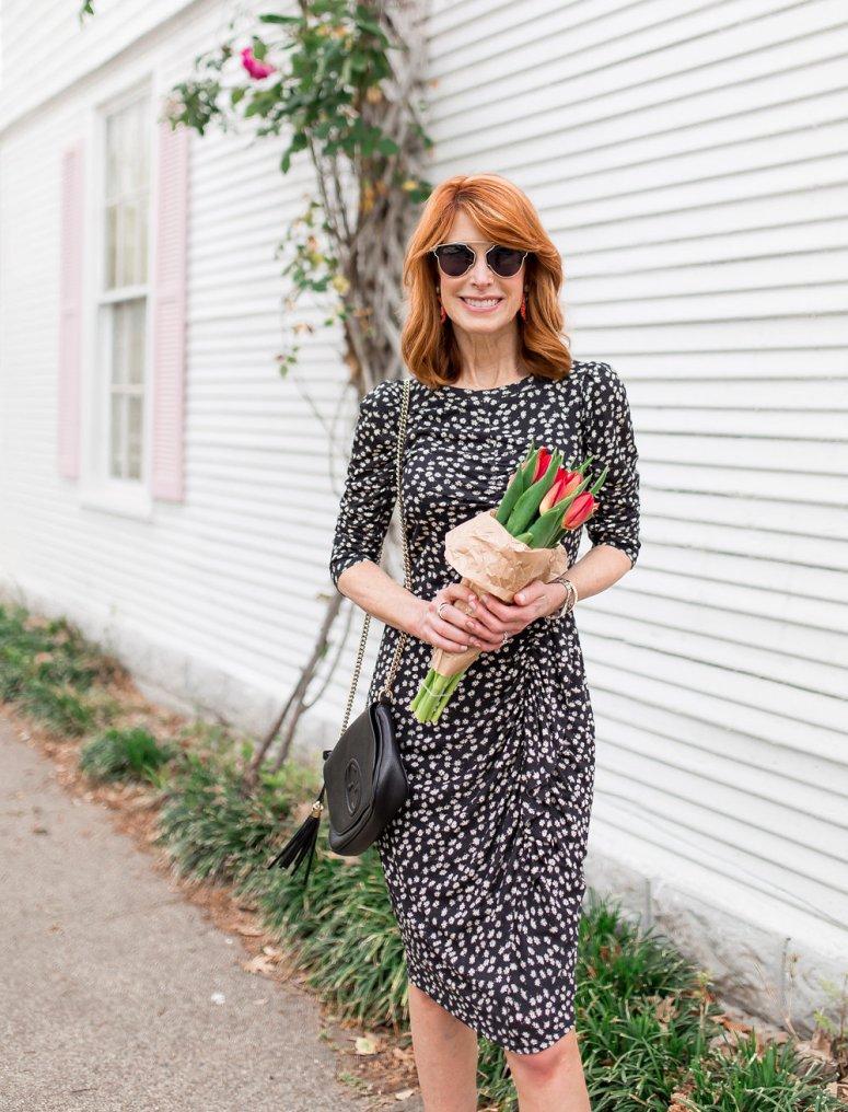 Rebecca Taylor Dress- Floral Midi Dress- Black and White Dress