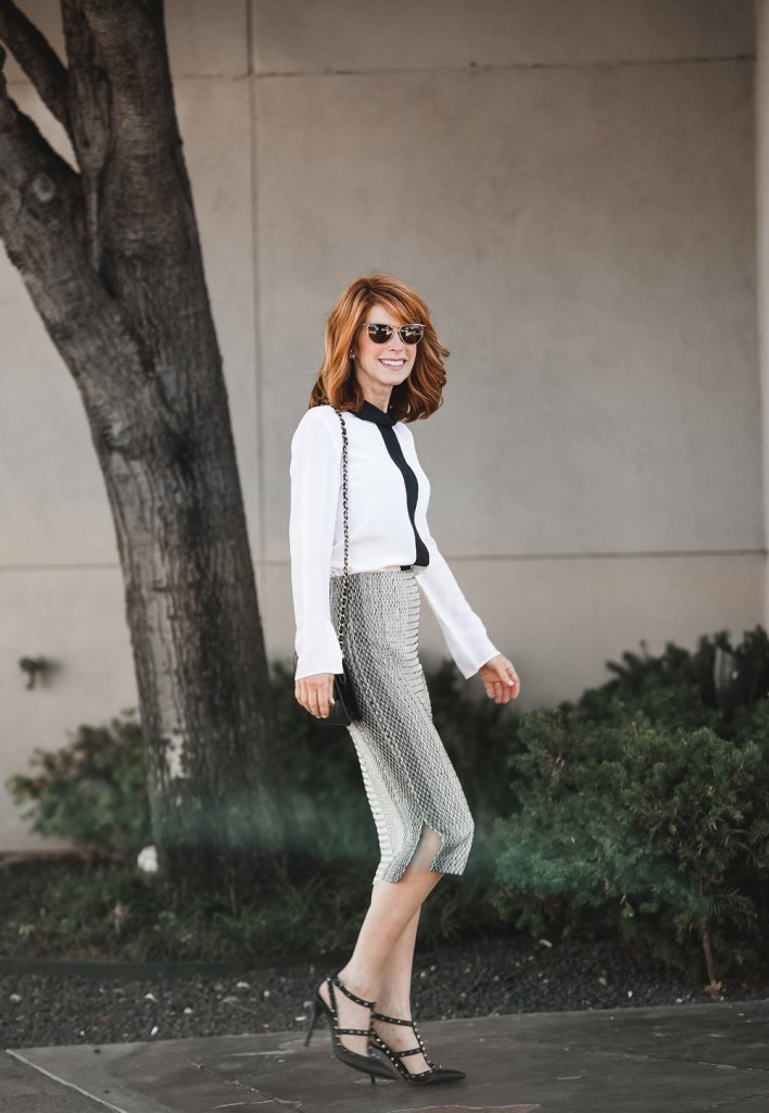 Misook Knit Patterned Skirt- Black and White Patterned Skirt-Misook Silk Blouse