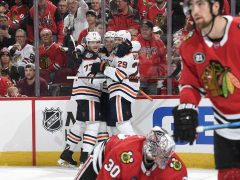 The Rink HawksVsOilers_10-2018_2-e1540778539972 RECAP: Blackhawks Fall to Oilers in OT Patrick Kane Oilers Edmonton Oilers Connor McDavid Chicago Blackhawks Blackhawks