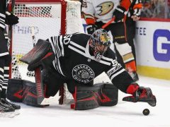 Corey Crawford #50 of the Chicago Blackhawks
