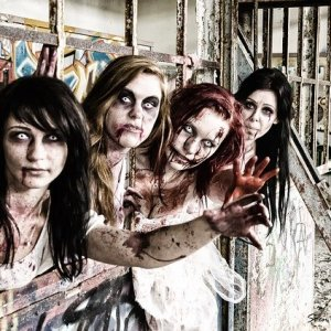 four young zombie women