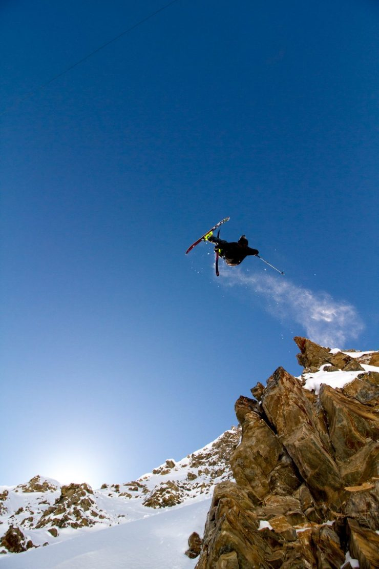 Jacob Webstier skis off a cliff - photo by Ethan Stone at Courmayeur