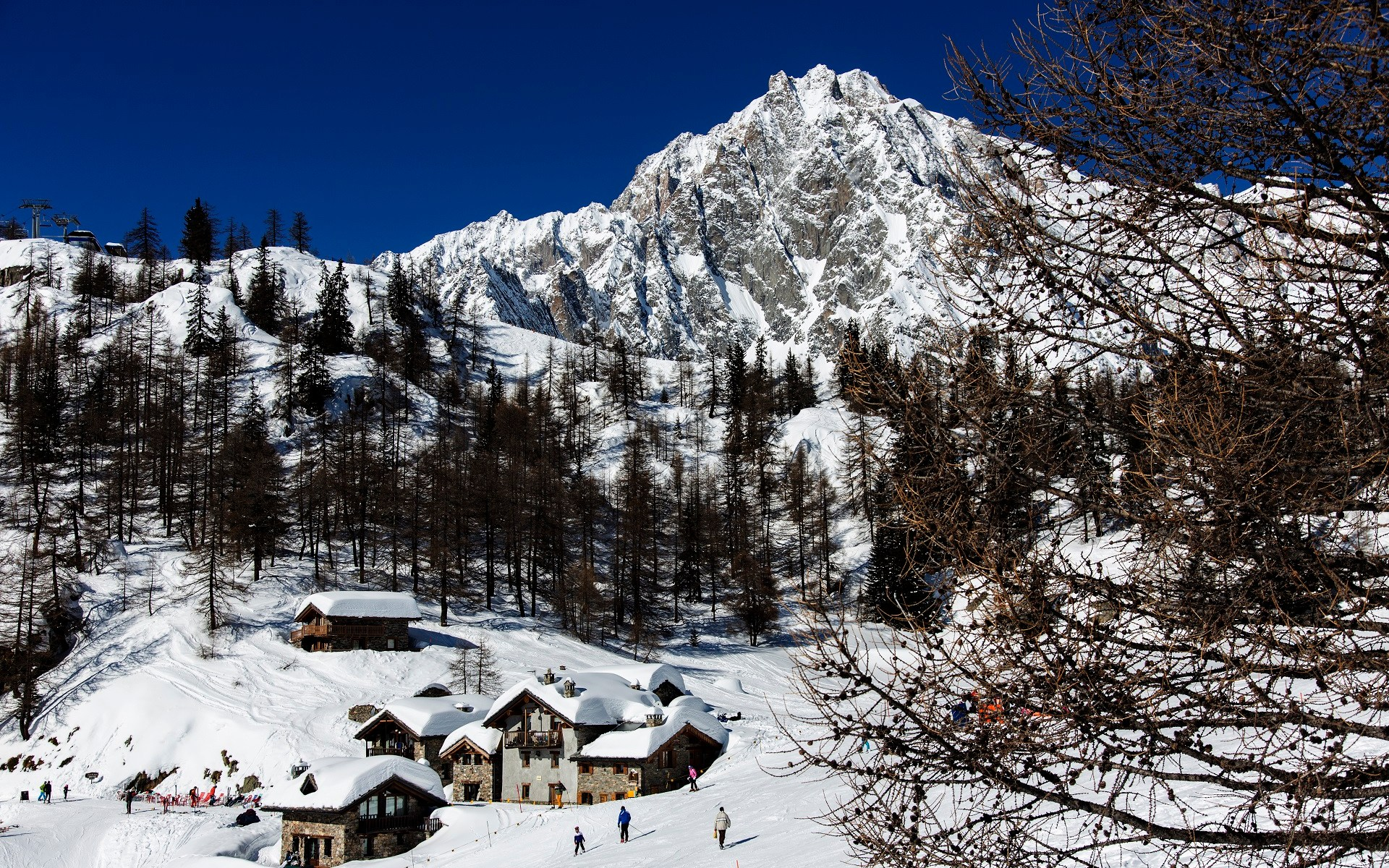 Courmayeur is nestled by the Mont Blanc