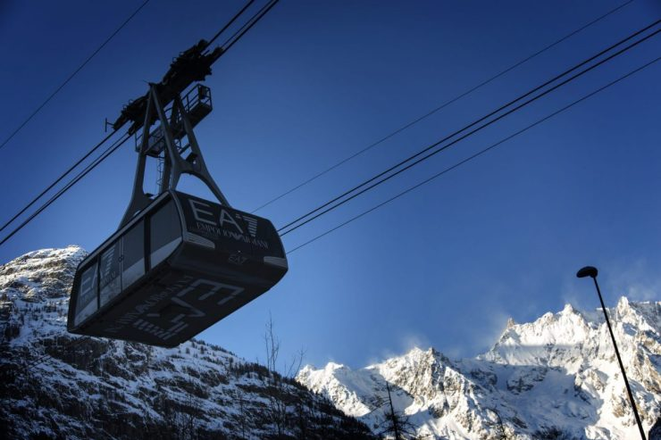 The Armani Funivie whisks guests to Plan Chécrouit where the ski slopes of Courmayeur start from downtown Courmayeur