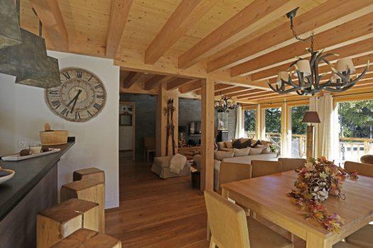 Living area on chalet Crans Luxury Lodges