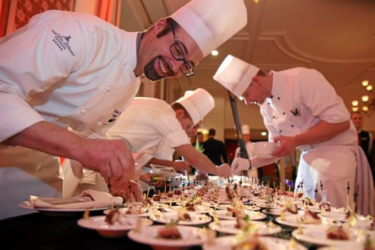 The Kempinski Grand Hotel des Bains is the setting for the Grand Opening of the St. Moritz Gourmet Festival. All the chefs and festival hosts as well as many well-known personalities from the international gourmet scene gathered here to launch the week. Copyright by St. Moritz Gourmet Festival By-line:swiss-image.ch/Andy Mettler