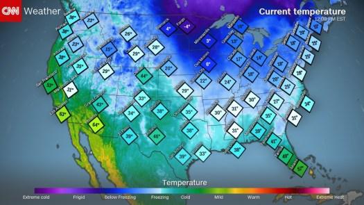 Current Temperatures today - Photo CNN.com