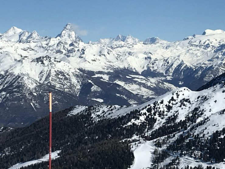 Top of Grimondet lift with views of the Matterhorn and also the Monterosa chain. Photo by: The-Ski-Guru.