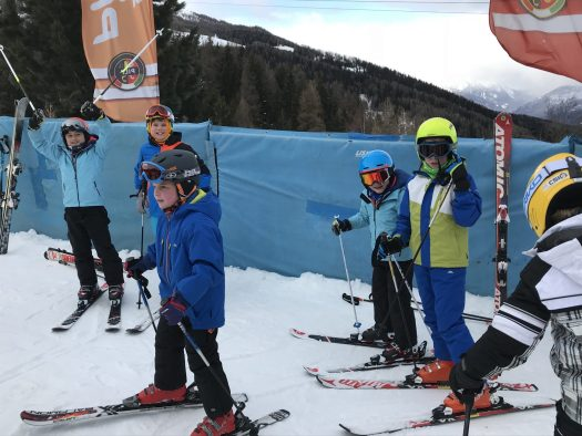 The boys waiting for their bibs and instructors to start their week group lessons. Scuola Sci Pila- Photo by: The-Ski-Guru.