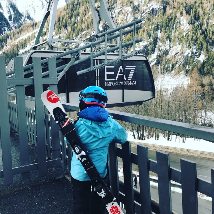 Enrique ready waiting for the funicular. Photo by The-Ski-Guru. Last part of our family half term trip – Picture-perfect Courmayeur Mont Blanc.
