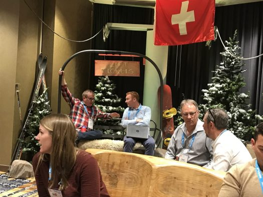 The Swiss lounge at the Trade Exchange during the Mountain Travel Symposium. 43rd Annual Mountain Travel Symposium, 1,100 attendees