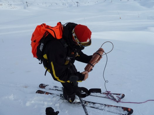 A ski patrol fixing a catex charge in Tignes. Two ski patrollers died in Morillon setting avalanche control charges.