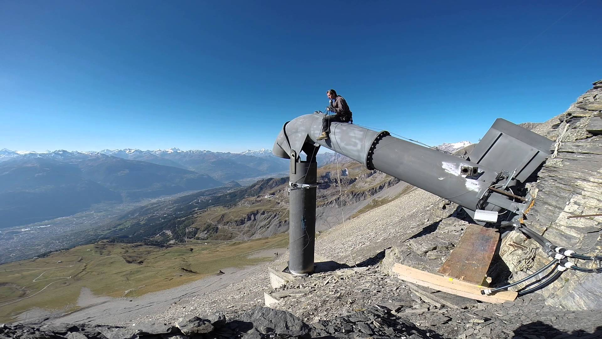 A Gaz-ex installation in a mountain - methods of containing high prone avalanche areas.