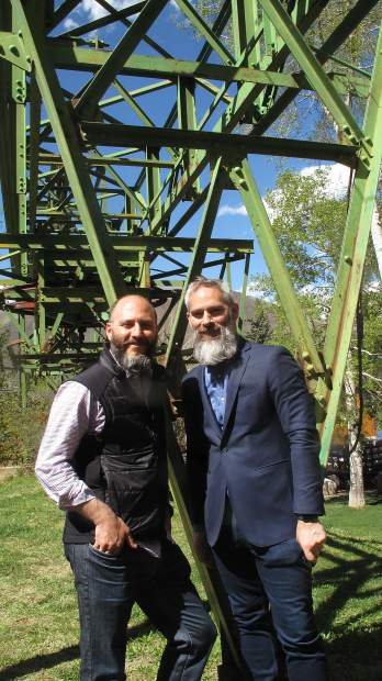 Lift One Lodge developers Michael and Aaron Brown at the site of the historic Lift One bulwheel structure. Aspen Mountain. Photo: Aspen Times.