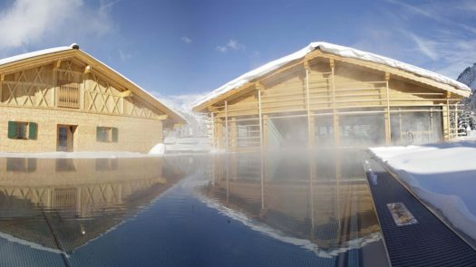 The Gasthof Post outside pool and view of the new Spa.