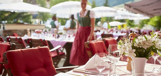 The terrace at the Gasthof Post Lech where to have a lunch al fresco.