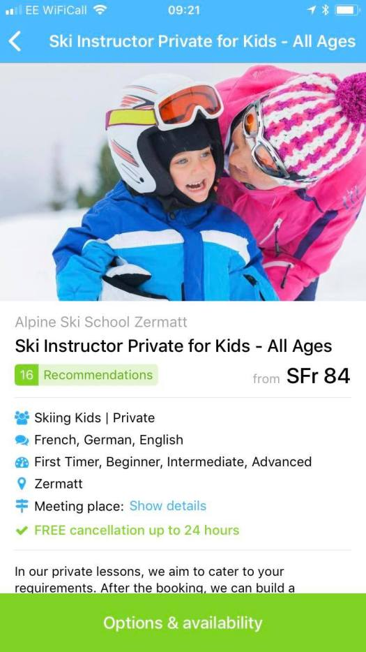 CheckYeti App. Here I am checking how about maybe getting a private lesson for my kids?