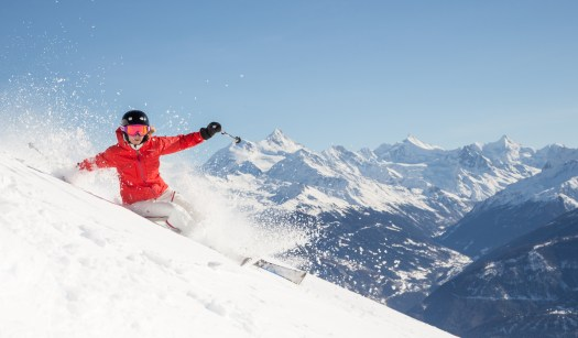 A skier enjoying the snow in Crans-Montana. Photo by Luciano Miglionico. Courtesy: Crans-Montana Tourism Office.