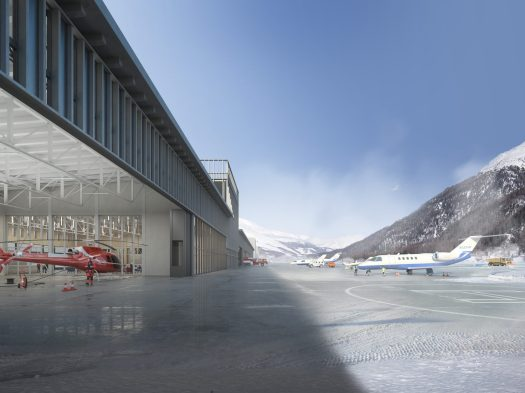 Side of the Samedan Regional Airport, Engadin Airport, Europe's highest airport. Photo: Samedan Regional Airport.